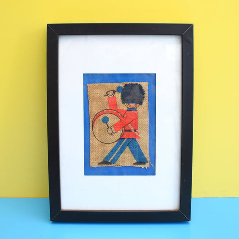 Vintage 1960s Hessian Picture - Drumming Guard / Toy Soldier - Framed