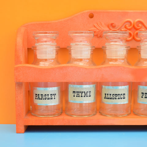Vintage 1970s Rack & Spice Jar Set - Orange