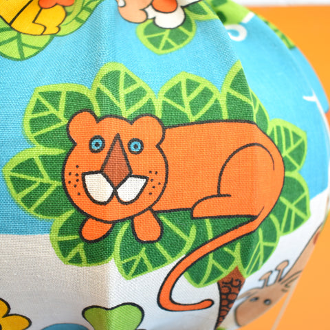 Vintage 1970s Kids Hot Air Balloon Light Shade - Jungle