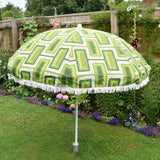 Vintage 1970s Large Folding Garden Parasol - Geometric - Green
