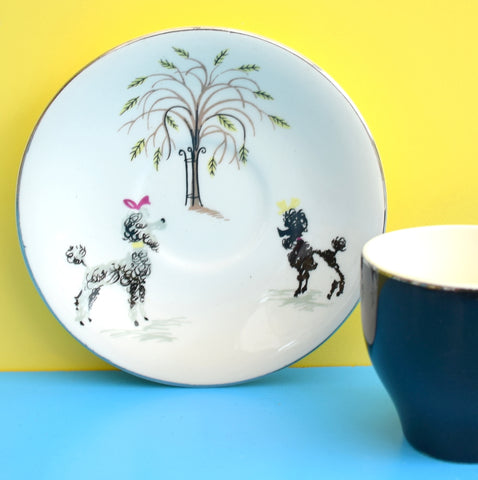 Vintage 1950s British Anchor - Poodle Design - Expresso / Coffee Cup & Saucer
