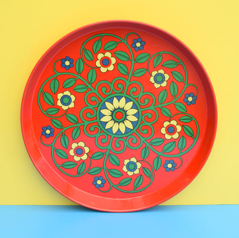 Vintage 1960s Round Tray - Flower Design, Red, Green, Blue, Yellow
