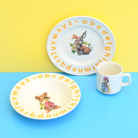 Vintage 1960s Kitsch Childs China Breakfast Set - Woods & Son - Bunny / Squirrel Design