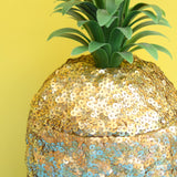 Vintage 1970s Pineapple Ice Bucket - Sequin Covered & Unique - Gold