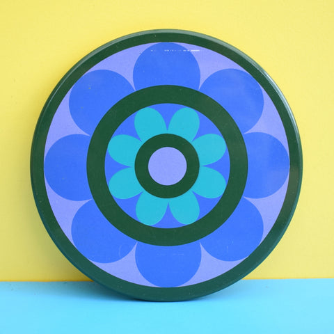 Vintage 1970s Round Metal Coasters - Ian Logan - Lollipop - Flower Power - Blue & Purple