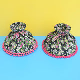 Vintage 1980s Chintz / Bobble Trim Lampshade - Black & Pink