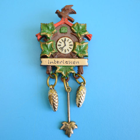 Vintage 1950s Souvenir Plastic Brooch Choice - Cuckoo Clock, Gun, Food, Drink