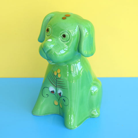 Vintage 1960s Bertoncello Italian Ceramic Dog Money Box, Green