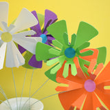 Vintage 1960s Takahashi Frilled Paper Flowers x12, Multi Coloured
