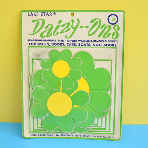 Vintage 1960s Stickers - Daizy- Ons - Flower Design - Green & Yellow