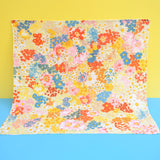 Vintage 1960s Flower Power Square Scarf - Pink, Red, Yellow, Blue