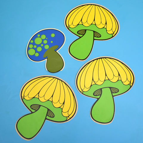 Vintage 1960s Stickers - Rickie Tickie - Individual Mushroom / Toadstool Design - Green, Blue & Yellow