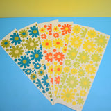 Vintage 1970s Sticker Sheets - Stickerations By Takahashi - Flower Design - Orange, Yellow, Green, Blue