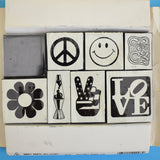 Vintage 1990s Rubber Stamp Set - All Night Media - Flower Power, Hippy