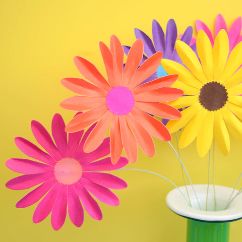 Vintage 1960s Takahashi Paper Flowers x12, Multi Coloured Or Orange