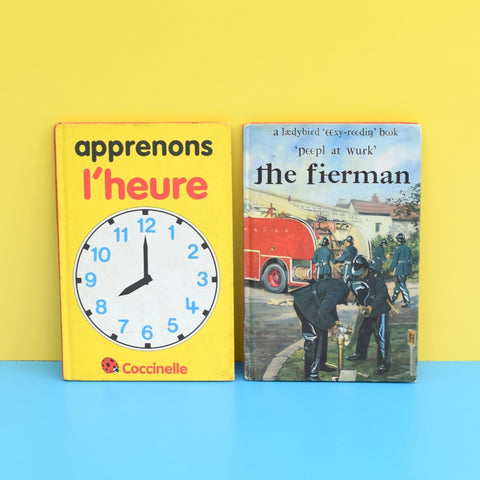 Vintage Ladybird Book - French Telling The Time - Apprenons L'Heure & Welch Fireman