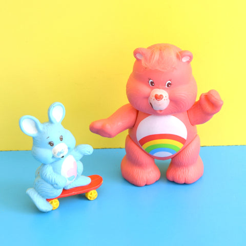 Vintage 1980s Care Bear Figures - Cousin Swift Heart Rabbit & Cheer Bear