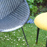 Vintage 1960s Satellite / Cone Chair - Black & White Woven Plastic