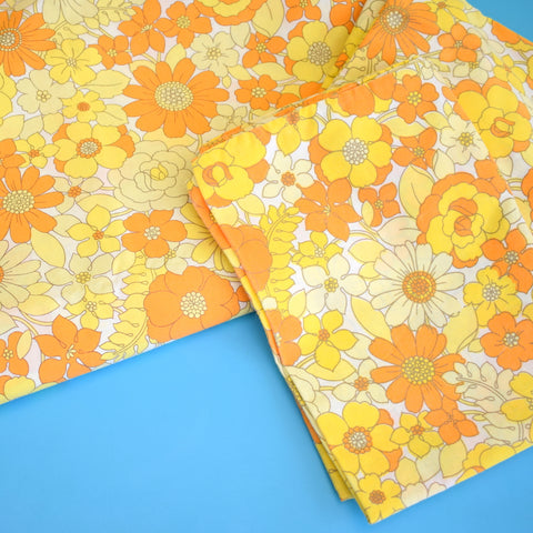 Vintage 1960s Double Sheet & Pillow Cases - Bold Flower Power - Yellow & Orange