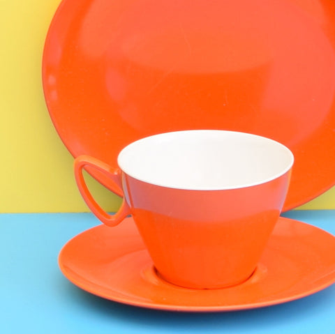 Vintage 1970s Melamine Plastic Cups, Saucers & Tea Plates - Orange