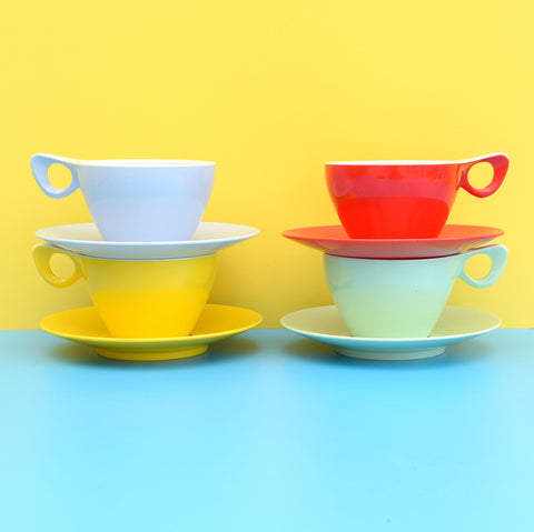 Vintage 1950s Melamine Plastic Cups & Saucers - Red, Yellow, Mint, Blue
