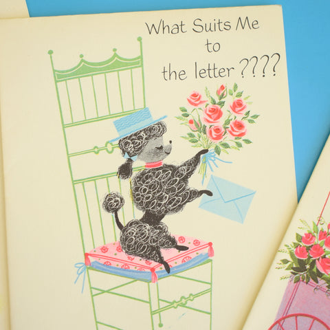 Vintage 1950s Note Cards & Envelopes - Blank & Get Well Soon - Poodles