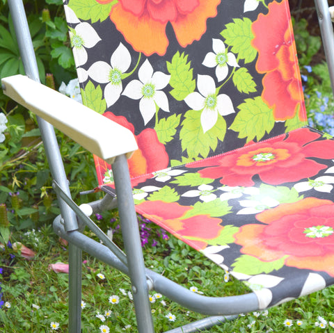 Vintage 1960s Folding Garden Chair - Flower Power - Red, Orange, Green