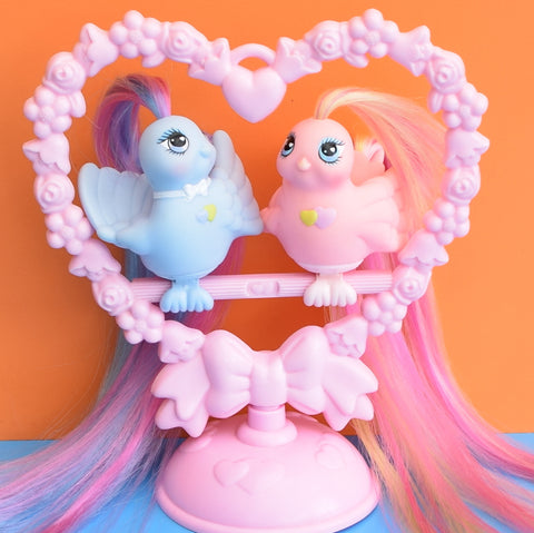 Vintage 1980s Fairy Tails Birds - Hasbro - Love Birds On Stand - My Little Pony