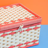 Vintage 1960s Sewing / Hobby Box - Woven Wicker Design - Red & White
