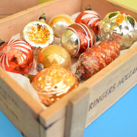 Vintage 1950s Hand Painted Small Glass Christmas Baubles / Decorations - Bronze / Gold (Boxed)