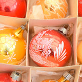 Vintage 1950s Hand Painted Medium Glass Christmas Baubles / Decorations - Amber / Red (Boxed)