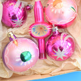 Vintage 1950s Hand Painted Medium Glass Christmas Baubles / Decorations / Topper - Pink & Purple
