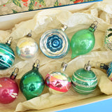 Vintage 1950s Hand Painted / Concave / Shaped Small Glass Christmas Baubles / Decorations - Mixed (Boxed)