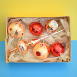 Vintage 1950s Hand Painted Medium Glass Christmas Baubles / Decorations / Topper - Bronze & Red
