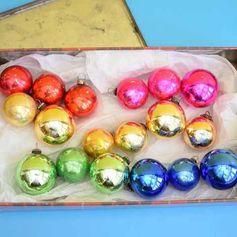 Vintage 1950s Small Plain Glass Christmas Baubles / Decorations - Rainbow (Boxed)