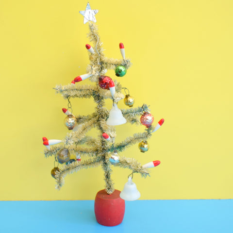 Vintage 1950s Small Pipe Cleaner Christmas Tree With Glass Decorations - Green