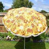 Vintage 1960s Large Folding Garden Parasol - Flower Power - Yellow & Brown