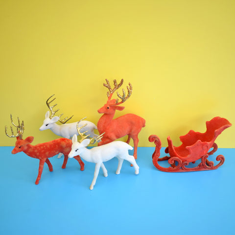 Vintage 1960s Kitsch Flocked Plastic Reindeer / Sleigh Christmas Decorations - Red