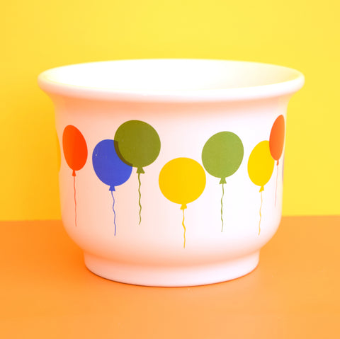 Vintage 1980s Waechtersbach Birthday Balloon Flower Pot - Rainbow