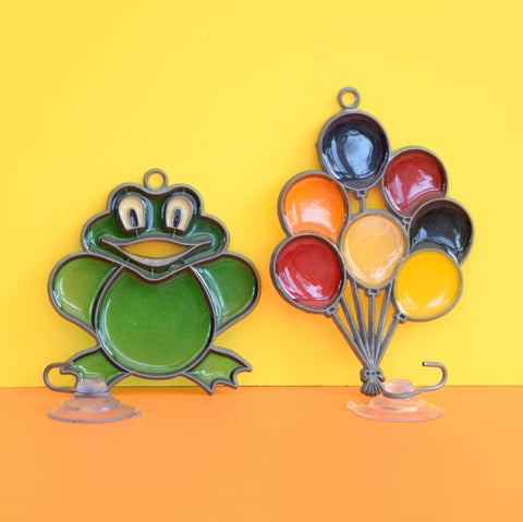 Vintage 1980s Glass Sun Catchers - Balloons or Frog