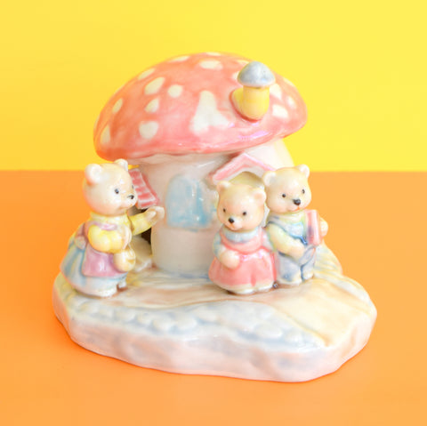 Vintage 1980s Ceramic Toadstool Teddy Figurine - Pastel Colours - Pink