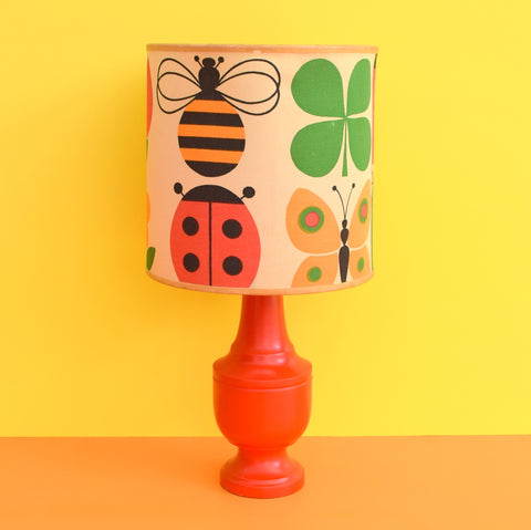 Vintage 1960s Wooden Lamp With Amazing Shade - Bees, Apples, Ladybird, Butterfly