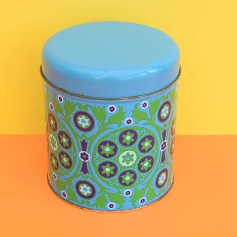 Vintage 1970s Metal Tin - Flower Design, Green & Blue