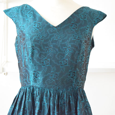 Vintage 1950s Satin Fit & Flare Dress - Petrol Blue sz 14