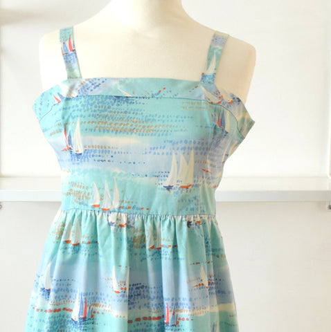 Vintage 1970s Cotton Fit & Flare Dress - Kitsch Boat Print sz 12 - 14