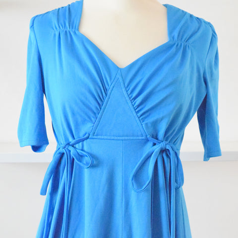 Vintage 1970s Stretch Fit & Flare Midi Dress - Electric Blue size 10-14 ish