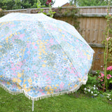 Vintage 1980s Large Folding Garden Parasol - Pretty Pastel Flowers