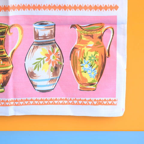 Vintage 1960s Tea Towel - Pink