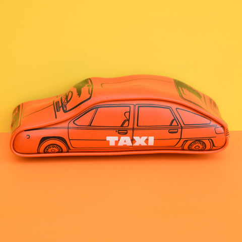 Vintage 1970s Vinyl Taxi Shaped Pencil Case - Orange / Red