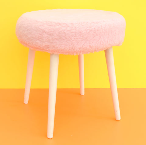 Vintage 1960s Fluffy Atomic Stool - Pale Pink